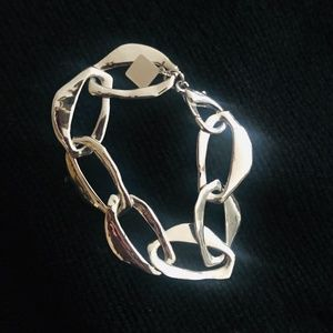 "Jewelry - Silver-Plated Chunky Curb Link Bracelet 7"" Long"